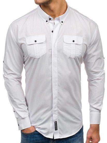 Biela pánska elegantná košeľa s dlhými rukávmi BOLF 0780