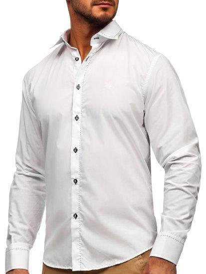Biela pánska elegantná košeľa s dlhými rukávmi BOLF 4719