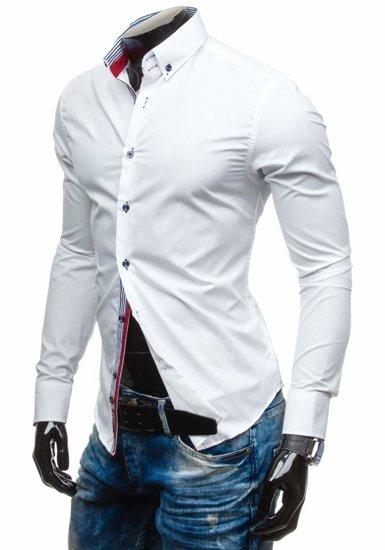 Biela pánska elegantná košeľa s dlhými rukávmi BOLF 5806