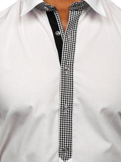 Biela pánska elegantná košeľa s dlhými rukávmi BOLF 6873