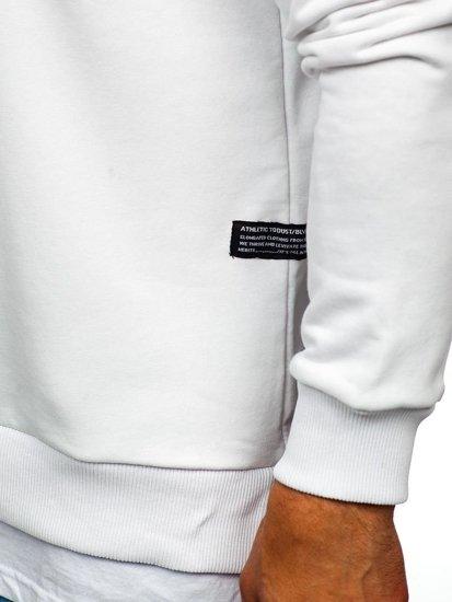 Biela pánska mikina bez kapucne s potlačou BOLF 11116
