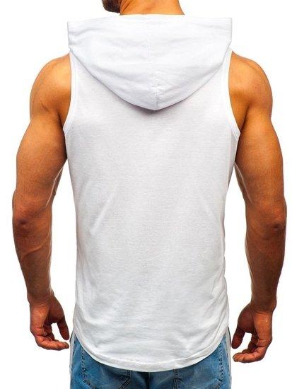 Biele pánske tričko bez rukávov s potlačou a kapucňou BOLF 1280