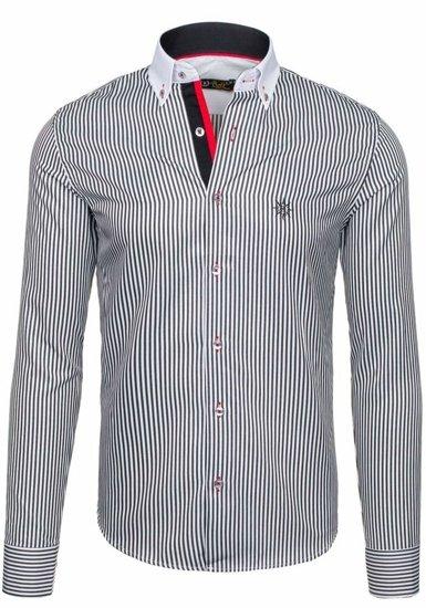 Bielo-čierna pánska elegantná pruhovaná košeľa s dlhými rukávmi BOLF 5759