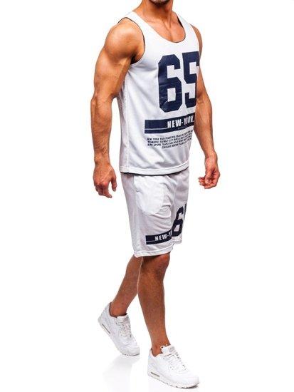 Biely pánsky komplet: tričko + kraťasy  BOLF 100777