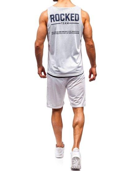 Biely pánsky komplet: tričko + kraťasy  BOLF 100780