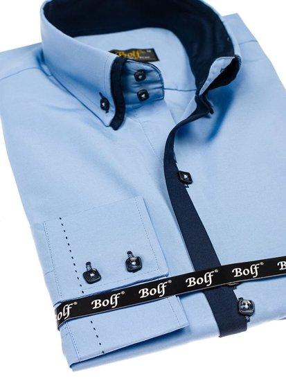 Blankytná pánska elegantá košeľa s dlhými rukávmi BOLF 1721-A