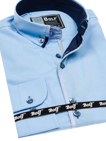 Blankytná pánska elegantná košeľa s dlhými rukávmi BOLF 5811