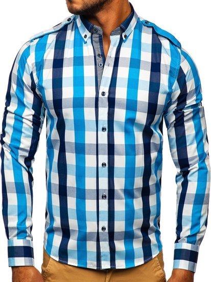 Blankytná pánska károvaná košeľa s dlhými rukávmi Bolf 2779