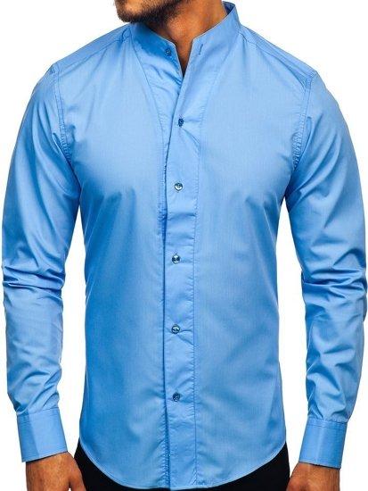 Blankytná pánska košeľa s dlhými rukávmi BOLF 5702