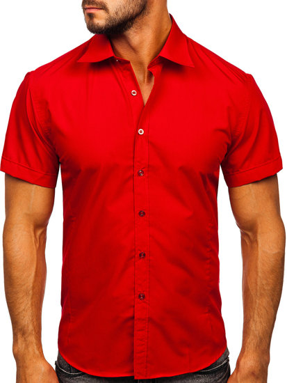 Bordová pánska elegantá košeľa s krátkymi rukávmi BOLF 7501