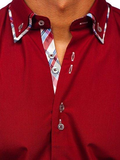 Bordová pánska elegantná košeľa s dlhými rukávmi BOLF 4704