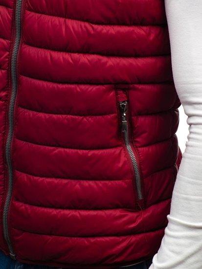 Bordová pánska obojstranná vesta s kapucňou BOLF 1251