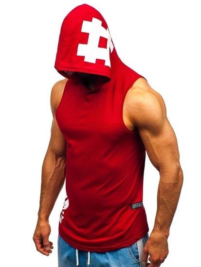 Bordové pánske tričko bez rukávov s potlačou a kapucňou BOLF 1285