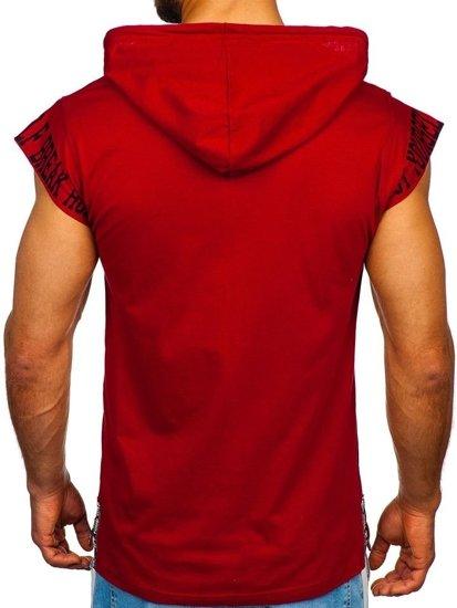 Bordové pánske tričko s potlačou a kapucňou Bolf 19100