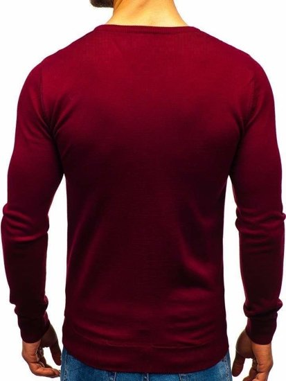 Bordový pánsky sveter s výstrihom do V BOLF 2200