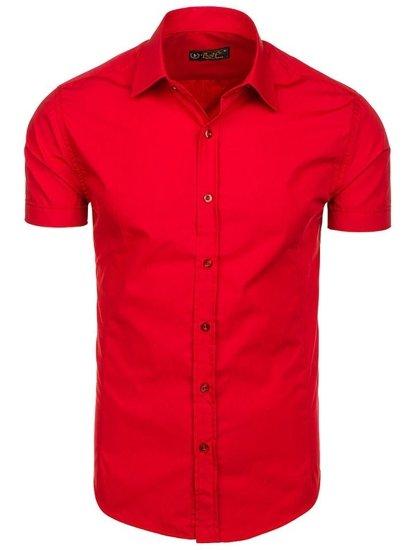 Červená pánska elegantá košeľa s krátkymi rukávmi BOLF 7501