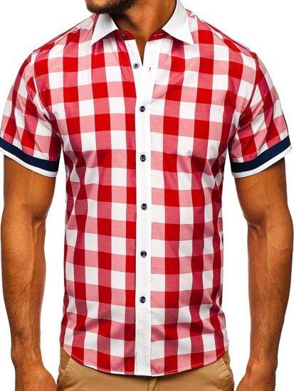 Červená pánska elegantná károvaná košeľa s krátkymi rukávmi BOLF 8901