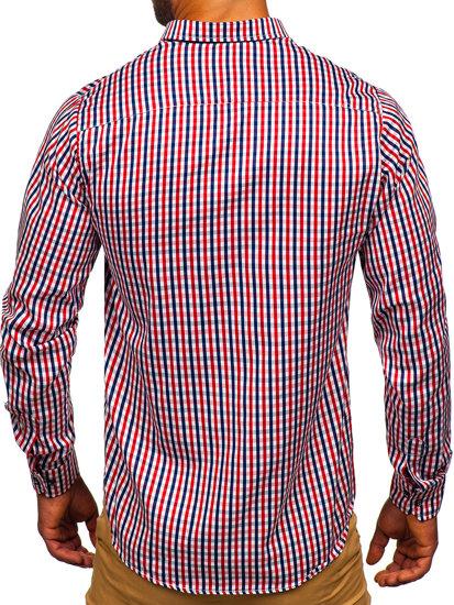 Červená pánska károvaná vichy košeľa s dlhými rukávmi BOLF 4712