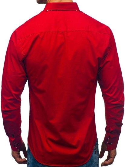 Červená pánska košeľa s dlhými rukávmi BOLF 3762