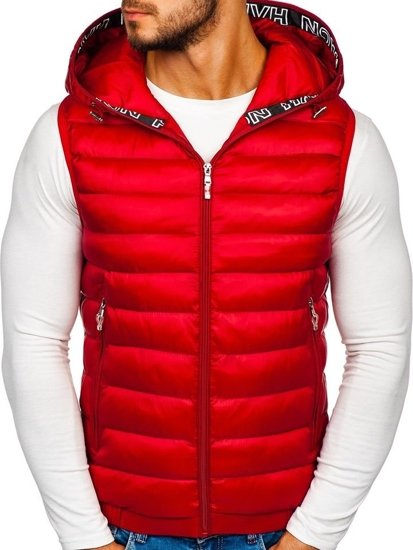 Červená pánska prešívaná vesta s kapucňou Bolf 5931