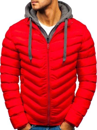 Červená pánska športová zimná bunda BOLF SM08