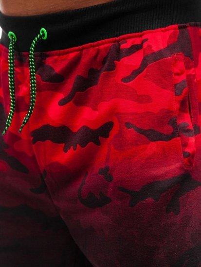 Červené maskáčové pánske teplákové kraťasy BOLF NP26