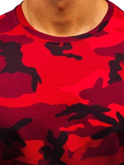 Červené maskáčové pánske tričko s potlačou BOLF S808