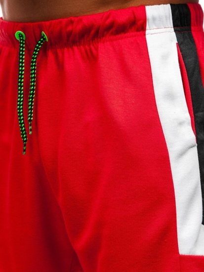 Červené pánske teplákové kraťasy BOLF 81010