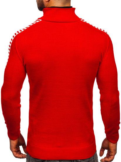 Červeno-čierny pánsky sveter BOLF 1013
