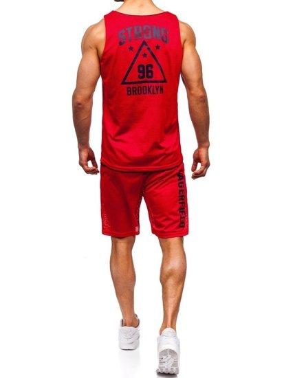 Červený pánsky komplet: tričko + kraťasy  BOLF 100779