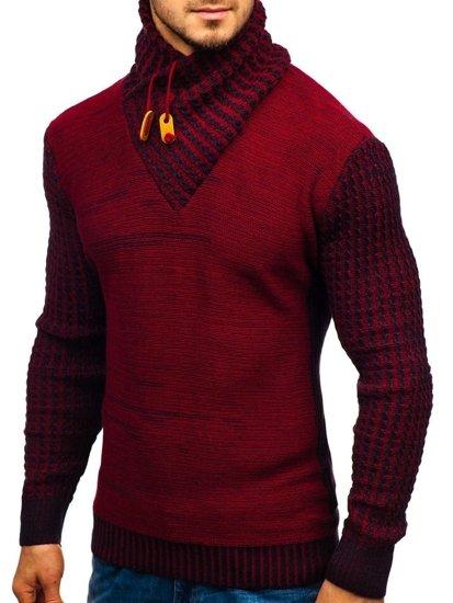 Červený pánsky vzorovaný sveter BOLF 2010
