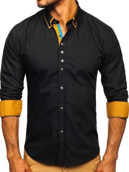 Čierna pánska elegantá košeľa s dlhými rukávmi BOLF 3708
