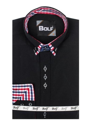 Čierna pánska elegantná košeľa s dlhými rukávmi BOLF 0926