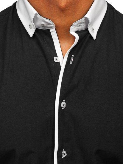 Čierna pánska elegantná košeľa s dlhými rukávmi BOLF 2782