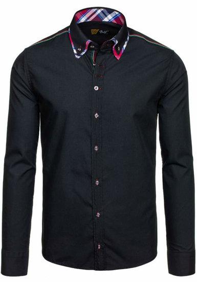 Čierna pánska elegantná košeľa s dlhými rukávmi BOLF 3701