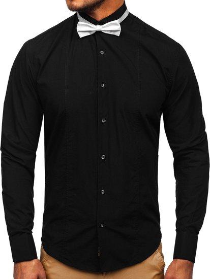 Čierna pánska elegantná košeľa s dlhými rukávmi BOLF 4702 +motýlik+manžetové knoflíčky