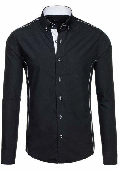 Čierna pánska elegantná košeľa s dlhými rukávmi BOLF 5722