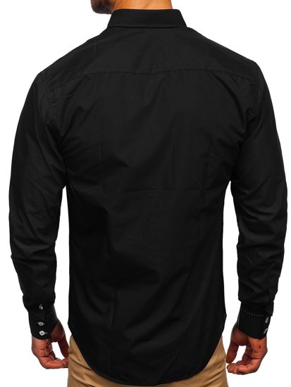 Čierna pánska elegantná košeľa s dlhými rukávmi BOLF 5797