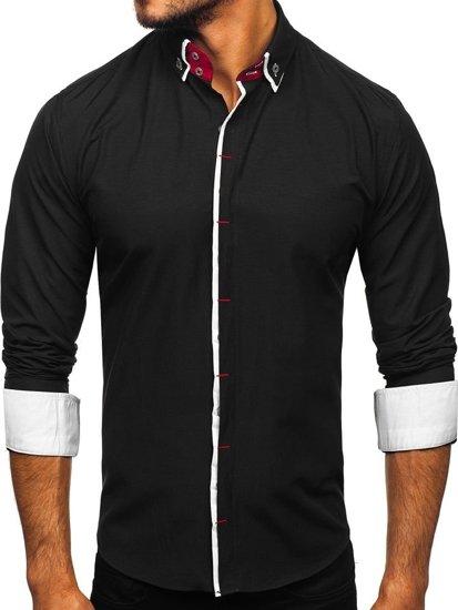 Čierna pánska elegantná košeľa s dlhými rukávmi Bolf 2767-1