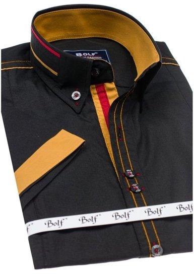 Čierna pánska elegantná košeľa s krátkymi rukávmi BOLF 6513