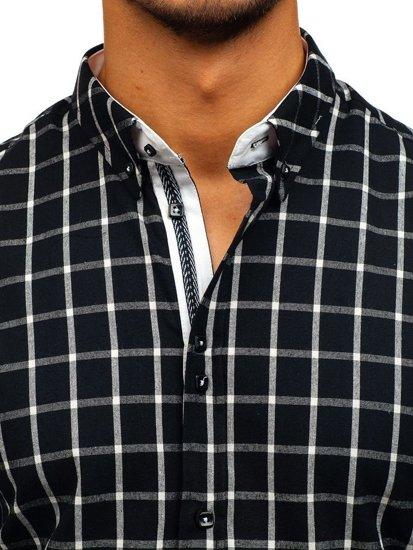 Čierna pánska károvaná košeľa s dlhými rukávmi BOLF 8825