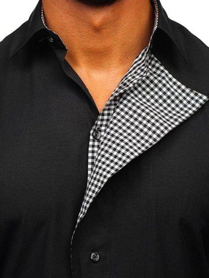 Čierna pánska košeľa s dlhými rukávmi BOLF 5746-A