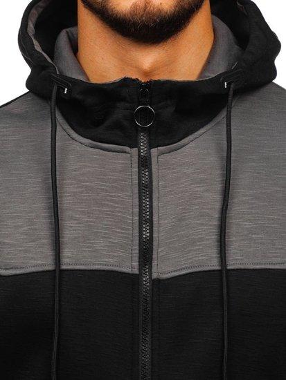 Čierna pánska mikina na zips s kapucňou Bolf 88028