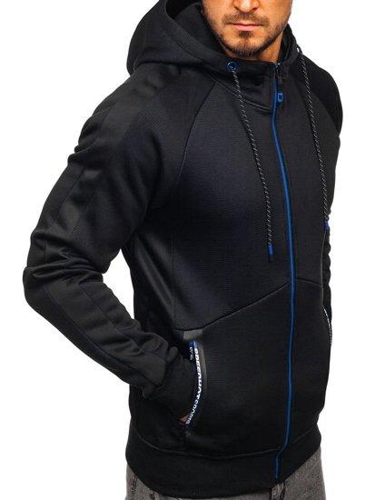 Čierna pánska mikina na zips s kapucňou Bolf DD733