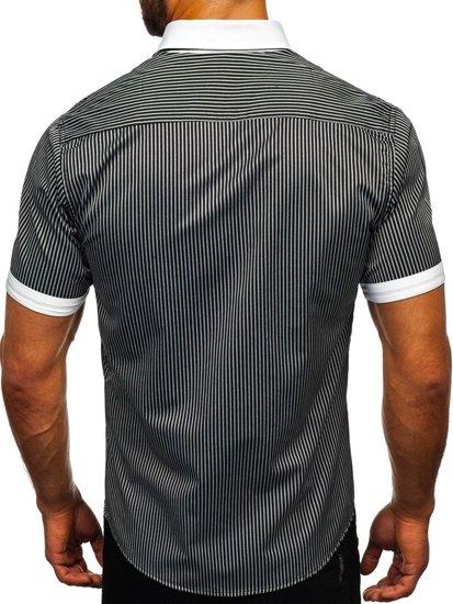 Čierna pánska pruhovaná košeľa s krátkymi rukávmi košeľa BOLF 1808