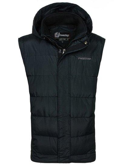 Čierna pánska vesta s kapucňou BOLF 8260