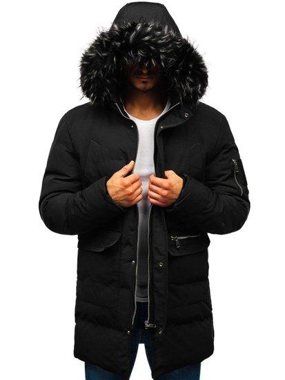 Čierna pánska zimná bunda parka BOLF 5585