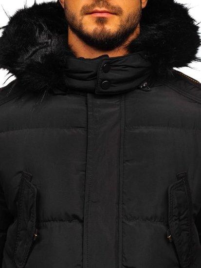 Čierna pánska zimná bunda parka Bolf 5837