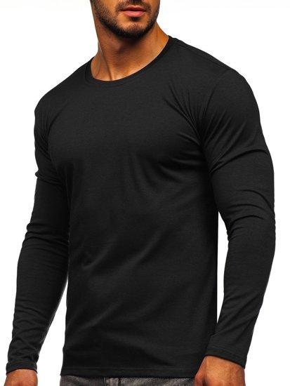 Čierna pánske tričko s dlhými rukávmi bez potlače Bolf 2088L