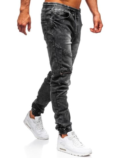 Čierne pánske rifľové joggery Bolf KA573